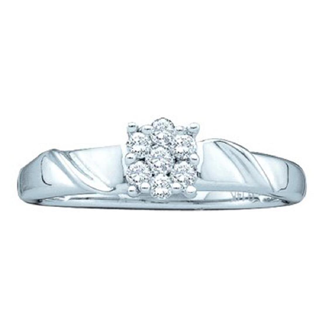 0.20 CTW Diamond Cluster Bridal Engagement Ring 14KT