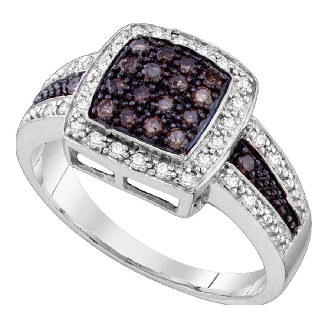 0.50 CTW Brown Color Diamond Cluster Ring 14KT White