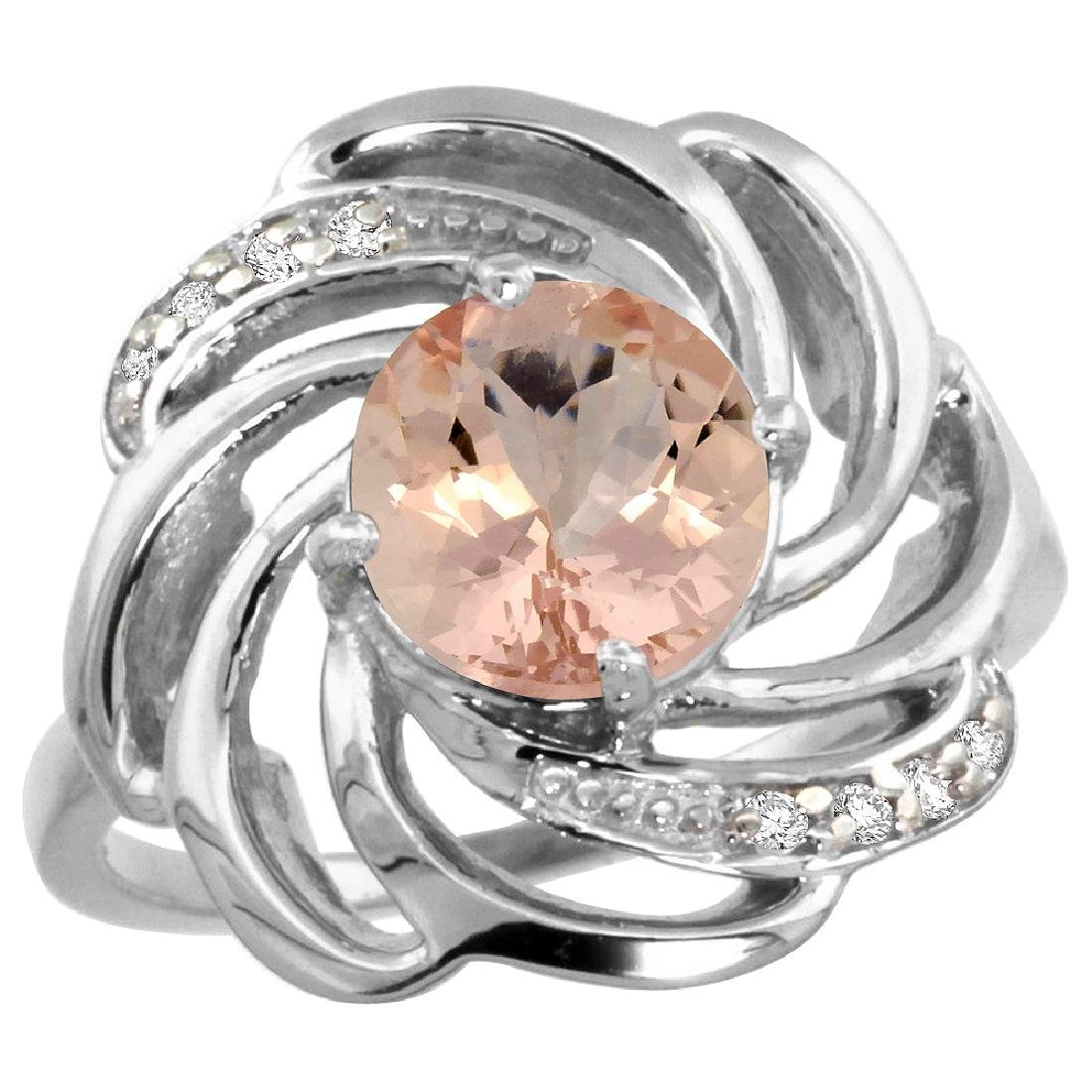 Natural 1.75 ctw morganite & Diamond Engagement Ring