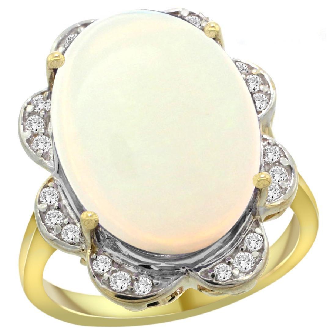 Natural 13.83 ctw opal & Diamond Engagement Ring 14K