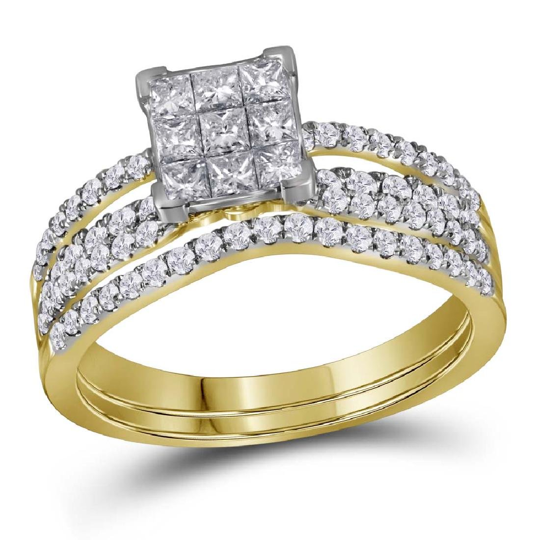 1.01 CTW Princess Diamond Cluster Bridal Engagement