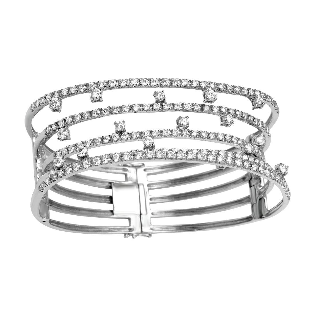 5.05 CTW Diamond Bangle Bracelet 18K White Gold -