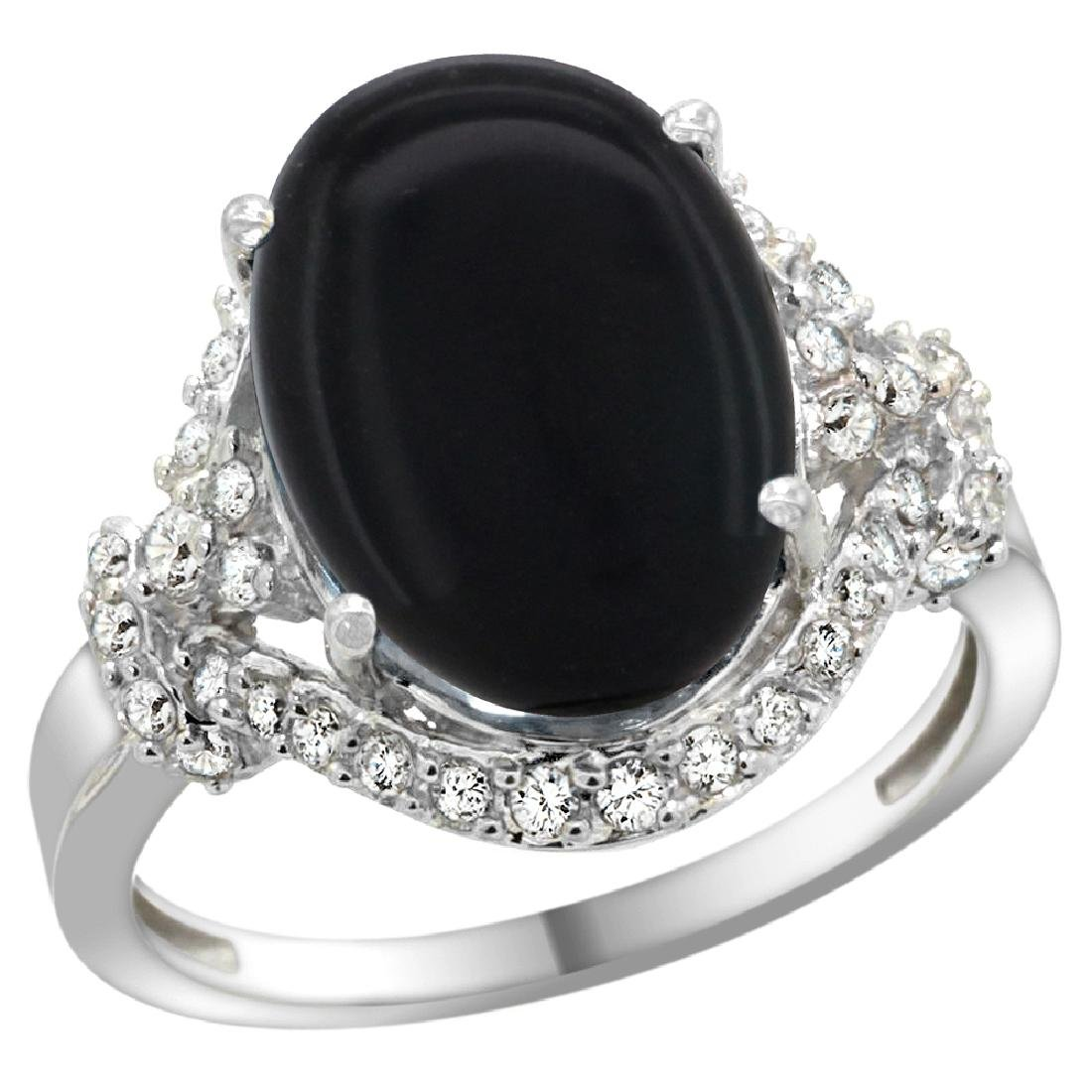 Natural 3.63 ctw onyx & Diamond Engagement Ring 14K