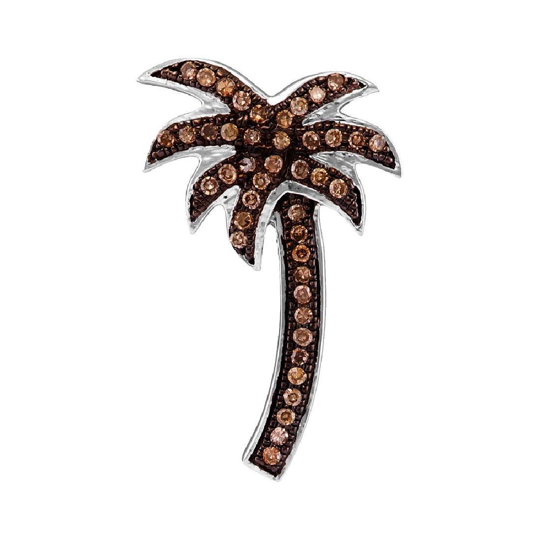 0.25 CTW Cognac-brown Color Diamond Palm Tree Nautical