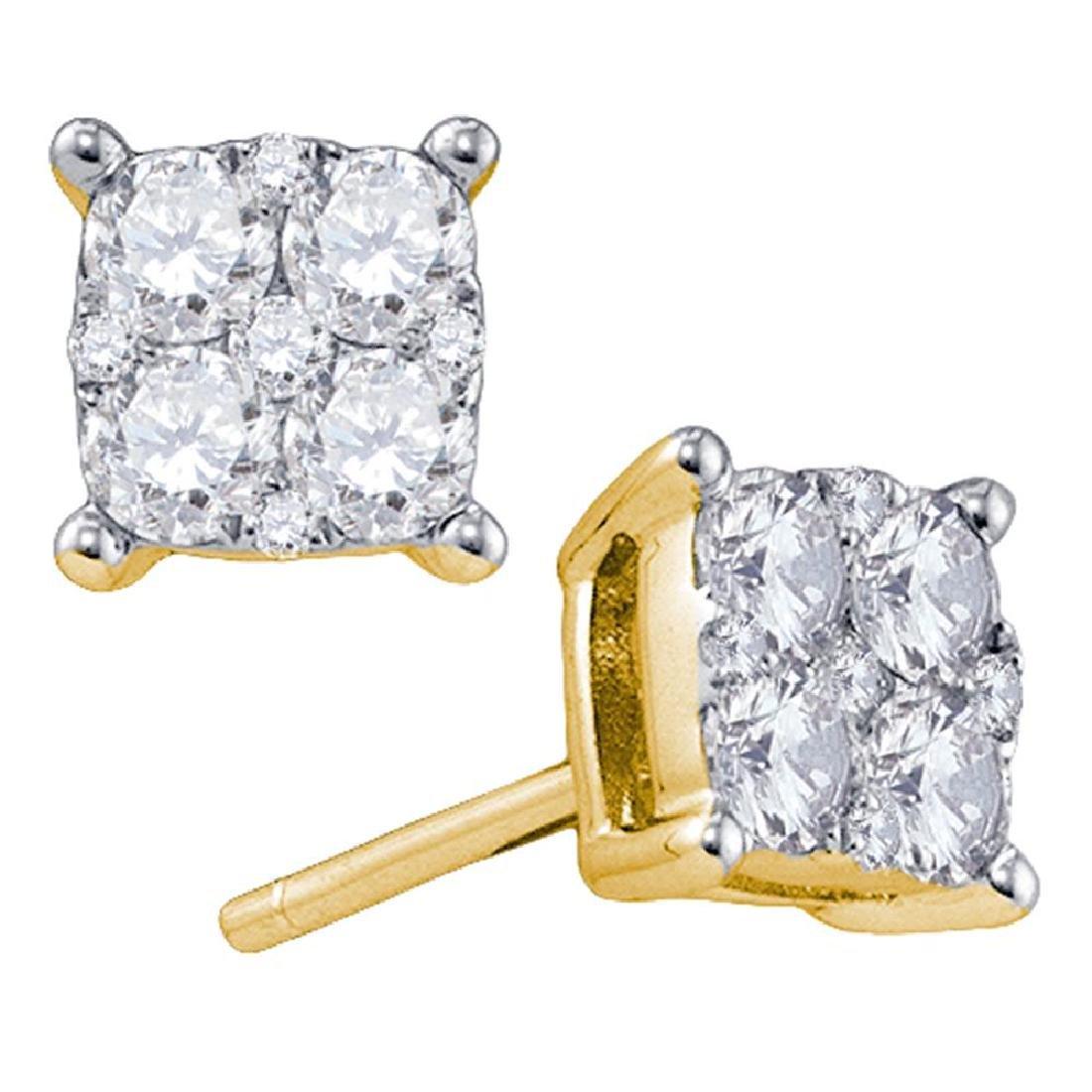0.68 CTW Diamond Cluster Screwback Earrings 18KT Yellow