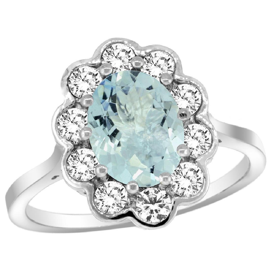 Natural 2 ctw Aquamarine & Diamond Engagement Ring 14K