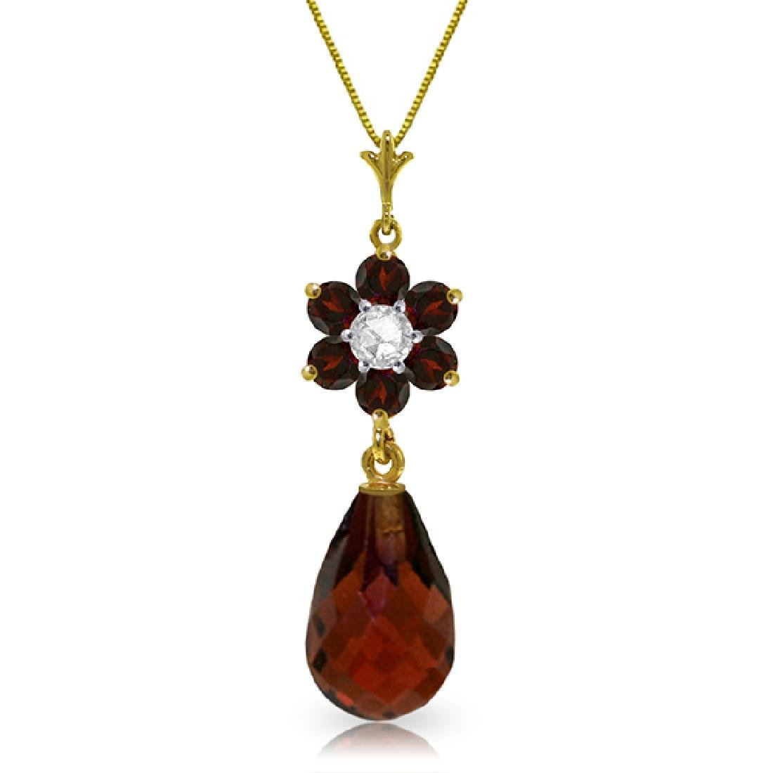 Genuine 2.78 ctw Garnet & Diamond Necklace Jewelry 14KT