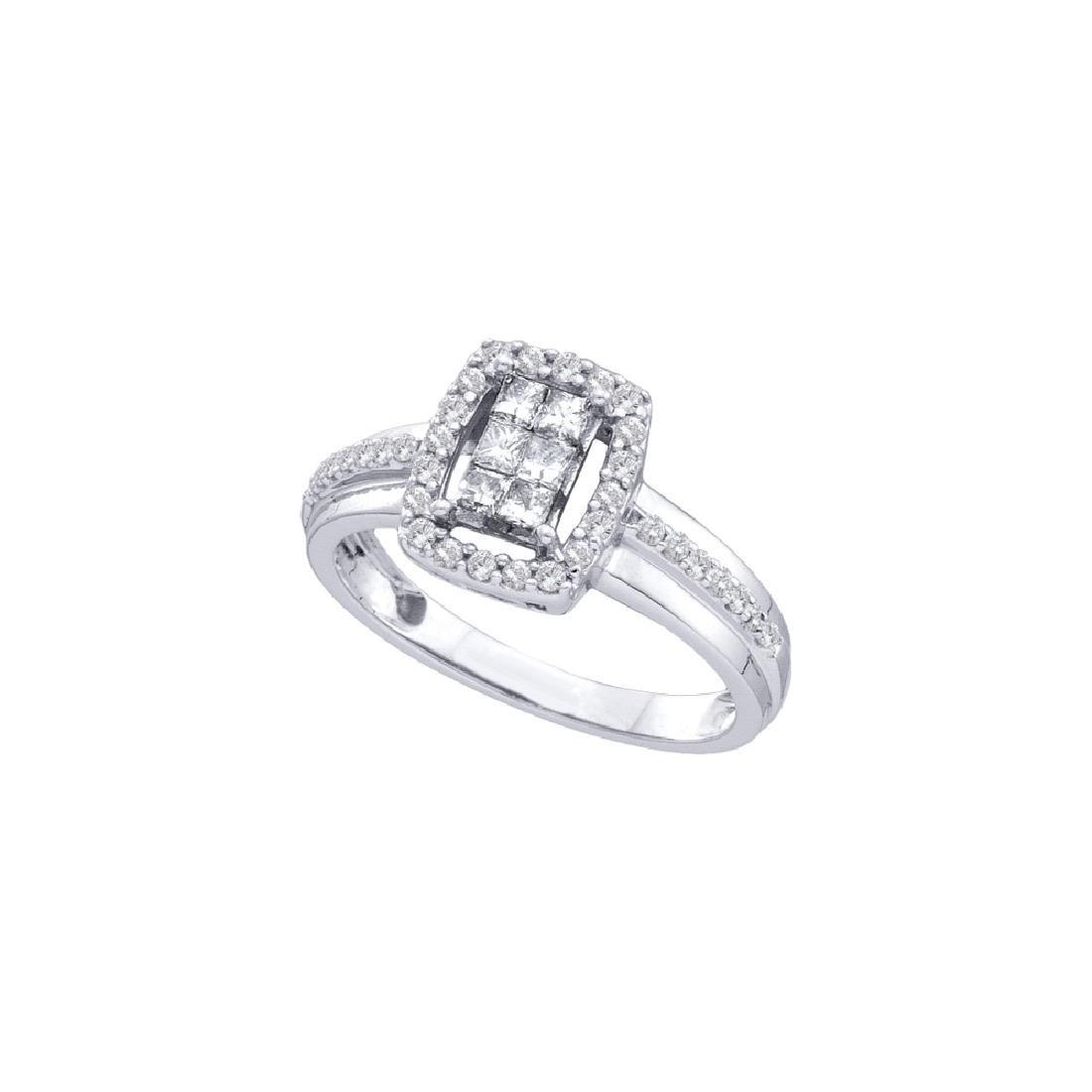 0.50 CTW Princess Diamond Rectangle Cluster Ring 14KT