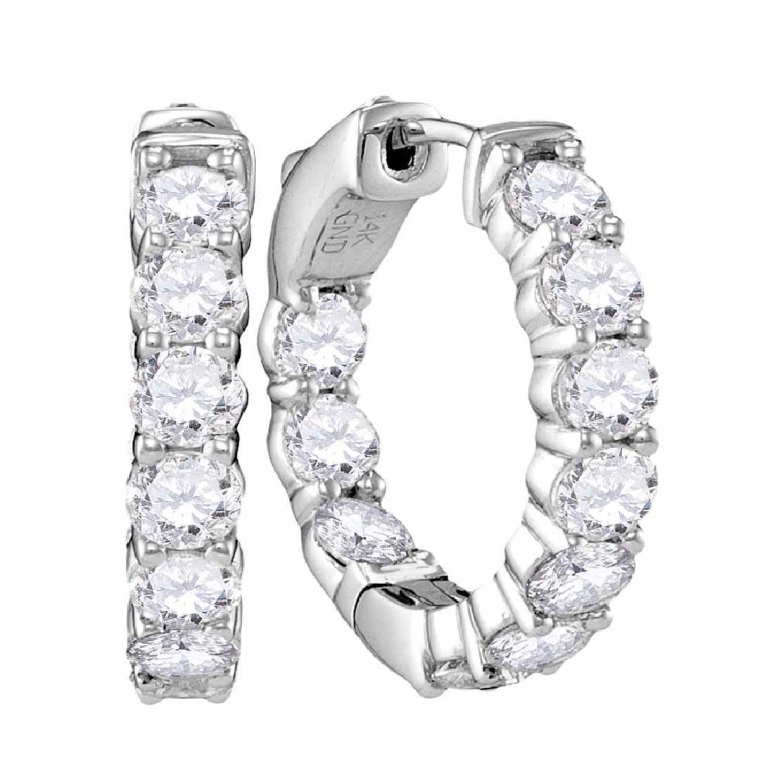 3.85 CTW Diamond Hoop Earrings 14KT White Gold -