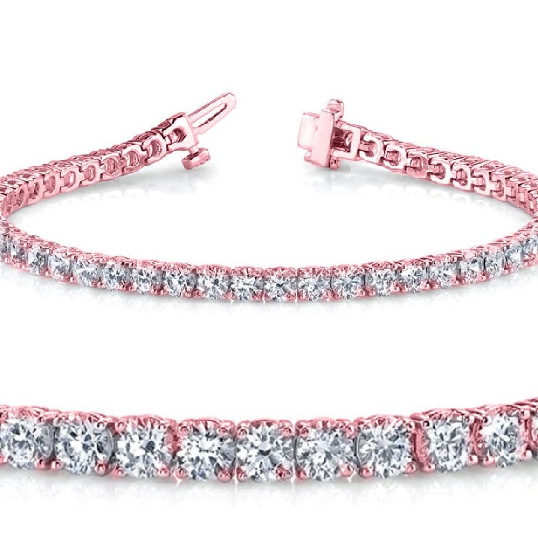 Natural 5.03ct VS-SI Diamond Tennis Bracelet 14K Rose