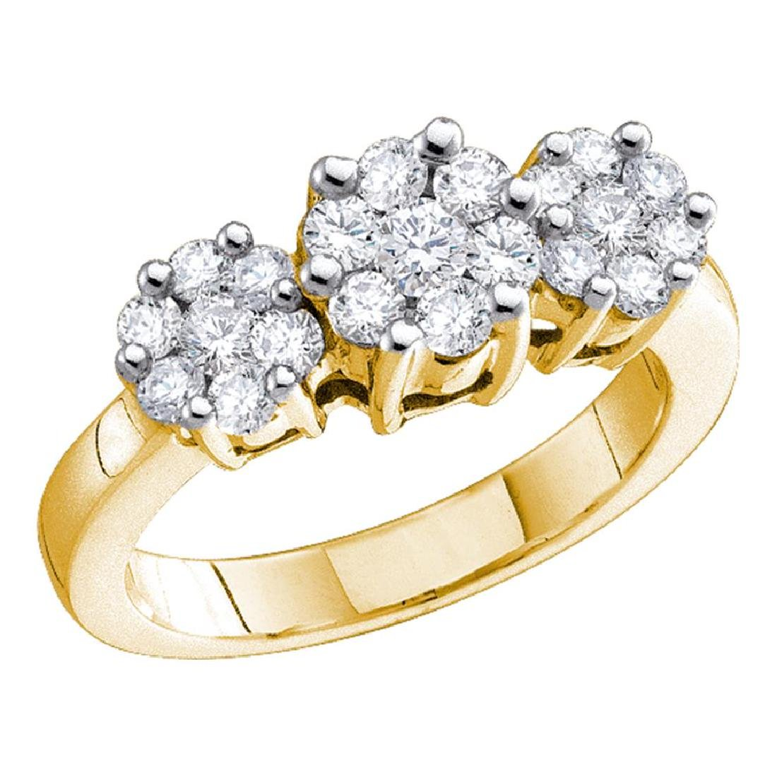 2 CTW Diamond Triple Cluster Ring 14KT Yellow Gold -