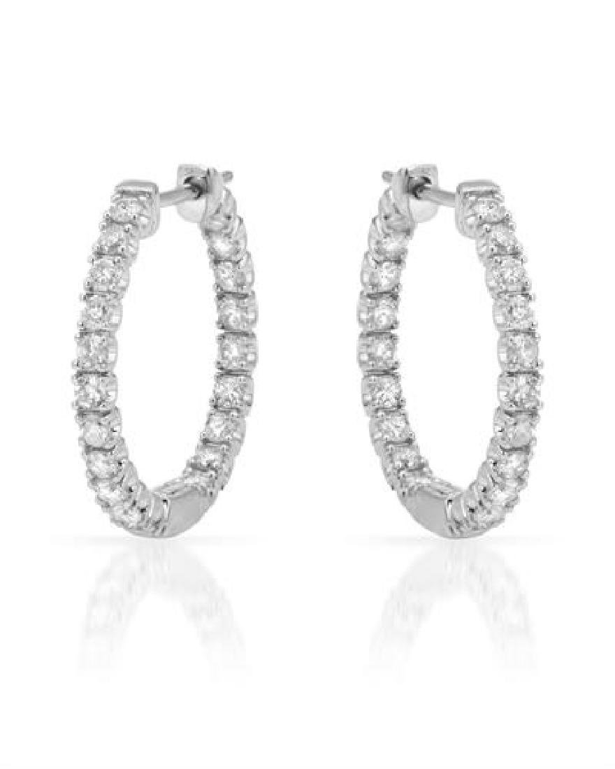 0.95 CTW Diamond Hoop Earring 14K White Gold -