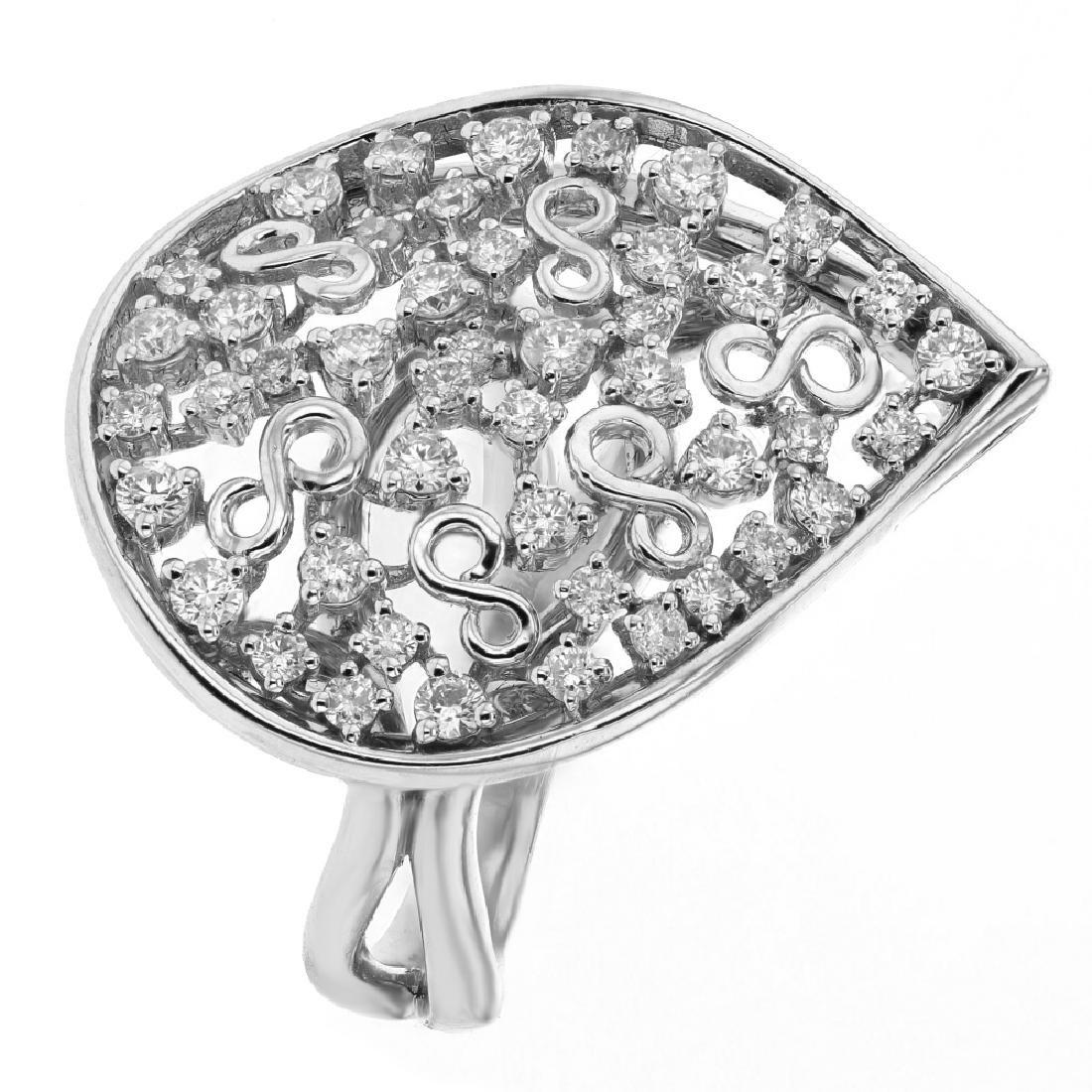 0.95 CTW Diamond & Cocktail Ring 18K White Gold -