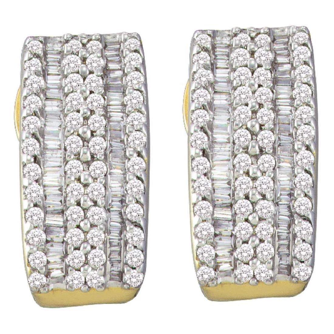 0.93 CTW Diamond Hoop Earrings 14KT Yellow Gold -