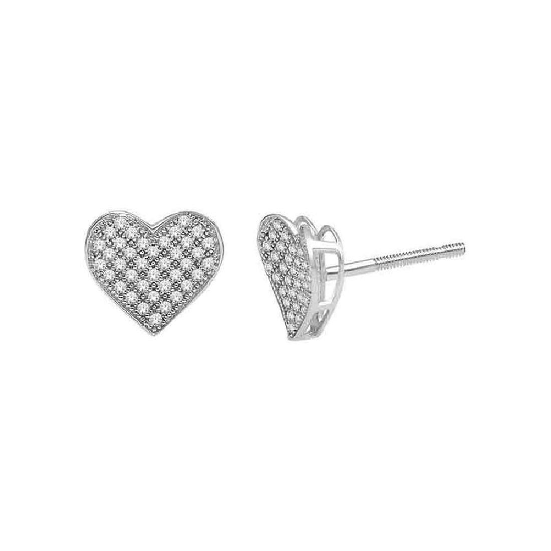 0.25 CTW Diamond Heart Earrings 10KT White Gold -