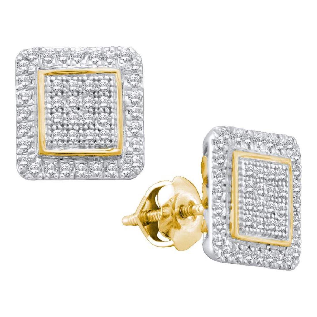 0.31 CTW Diamond Cluster Square Stud Earrings 10KT