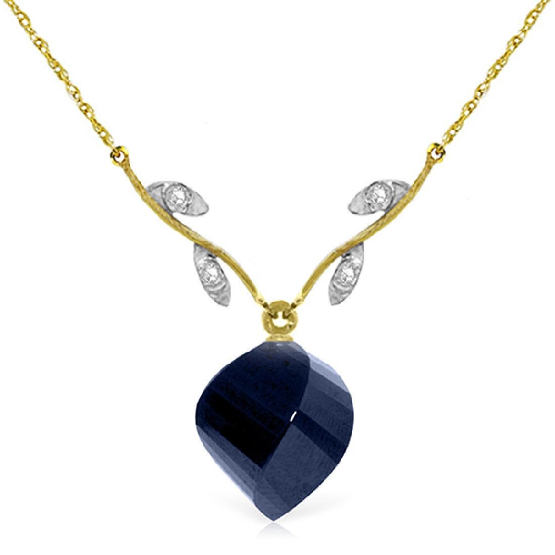 Genuine 15.27 ctw Sapphire & Diamond Necklace Jewelry
