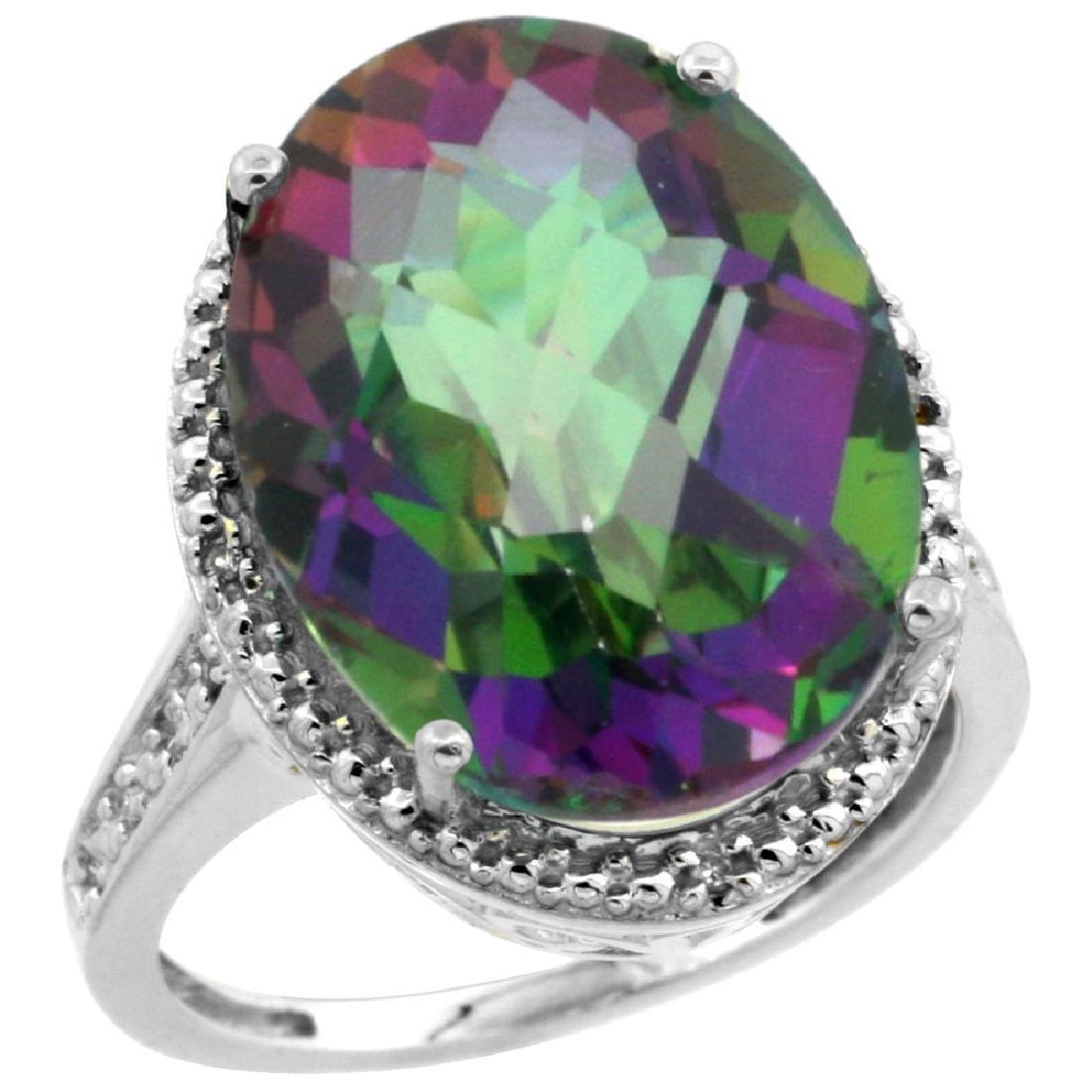 Natural 13.6 ctw Mystic-topaz & Diamond Engagement Ring