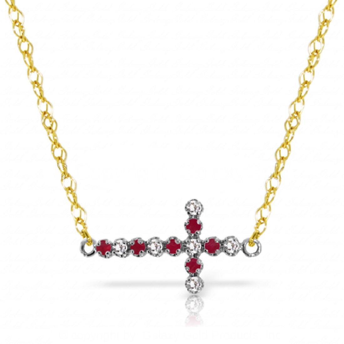 Genuine 0.24 ctw Ruby & Diamond Necklace Jewelry 14KT
