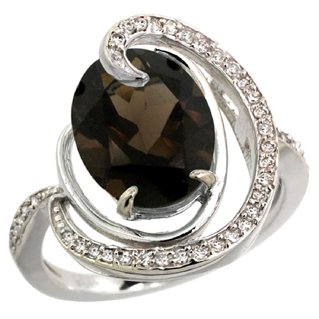 Natural 6.53 ctw smoky-topaz & Diamond Engagement Ring