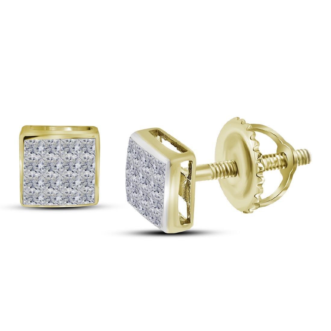 0.42 CTW Princess Diamond Square Cluster Stud Earrings