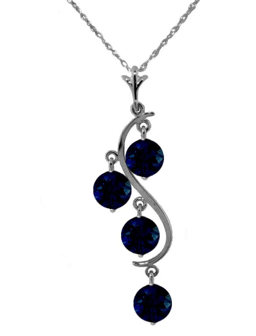 Genuine 2 ctw Sapphire Necklace Jewelry 14KT White Gold