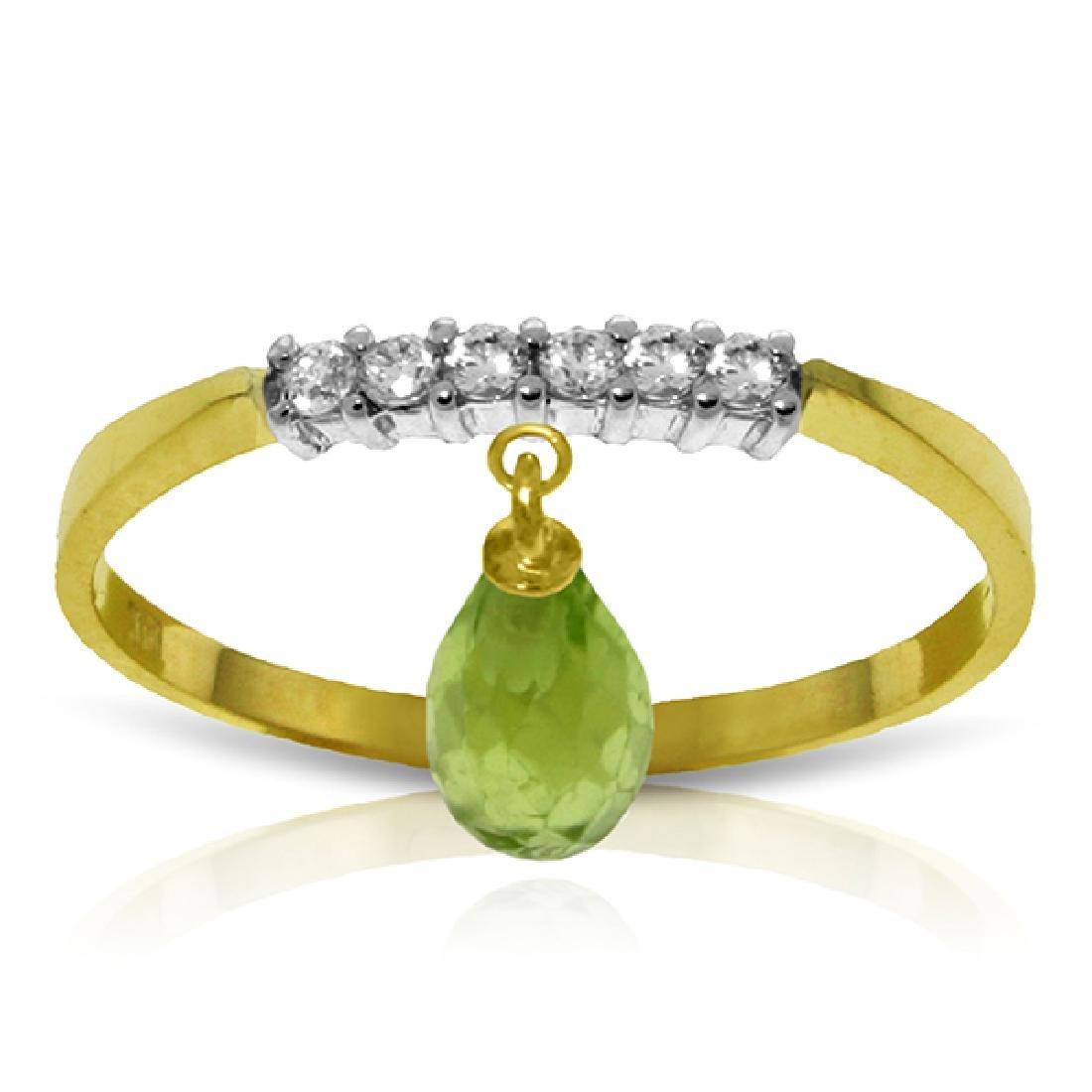 Genuine 1.45 ctw Peridot & Diamond Ring Jewelry 14KT
