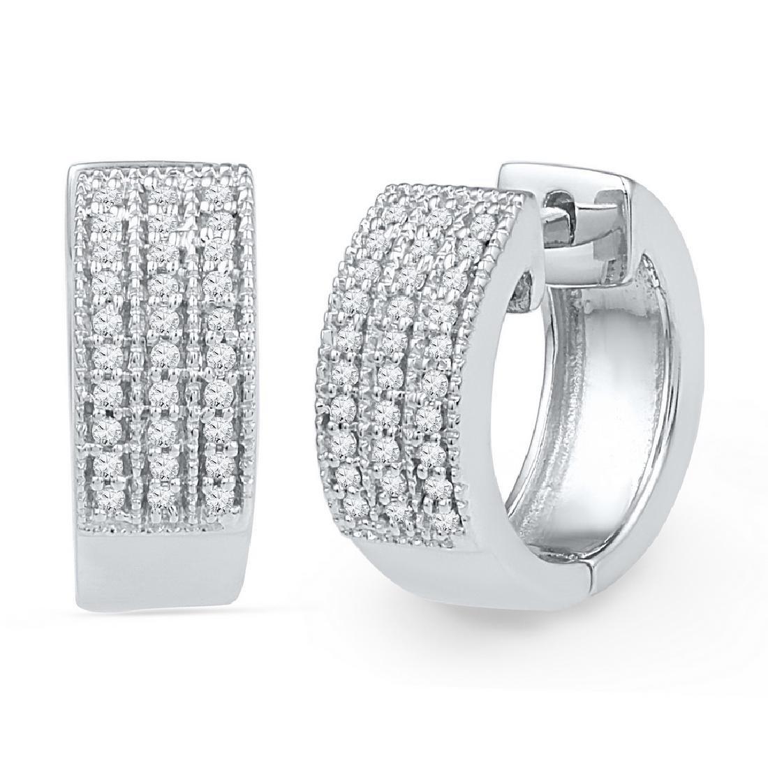 0.25 CTW Diamond Huggie Hoop Earrings 10KT White Gold -