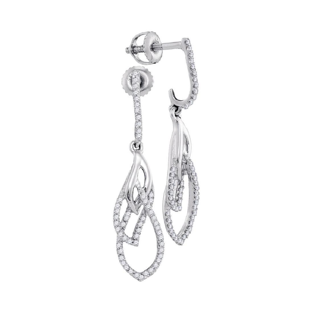 0.25 CTW Diamond Dangle Earrings 10KT White Gold -