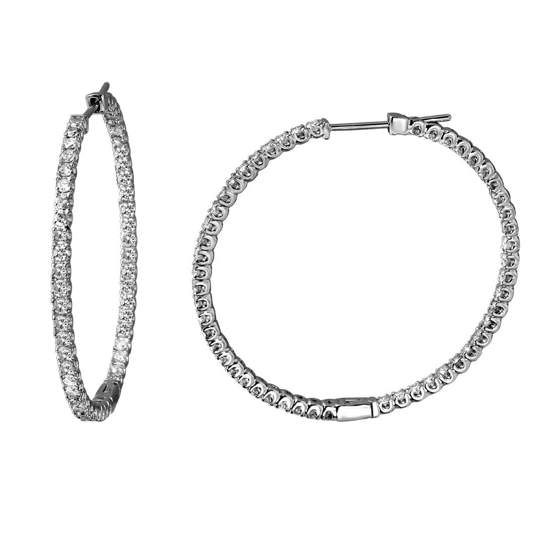 2.47 CTW Diamond Hoop Earring 14K White Gold -