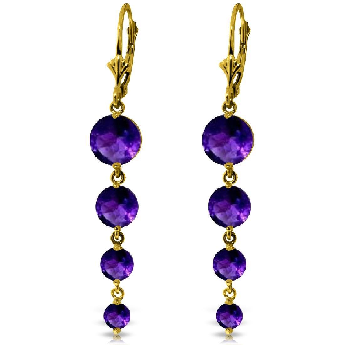 Genuine 7.8 ctw Amethyst Earrings Jewelry 14KT Yellow