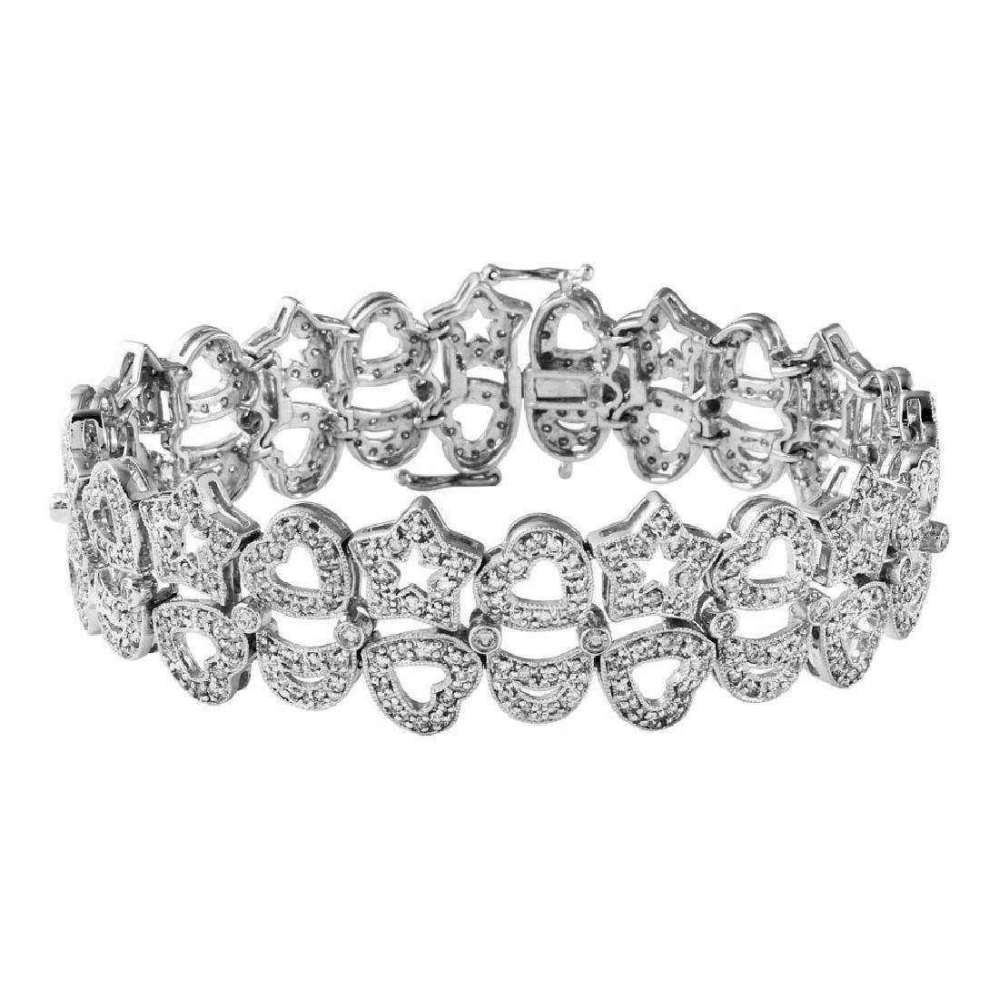 3.26 CTW Diamond & Link Bracelet 14K White Gold -