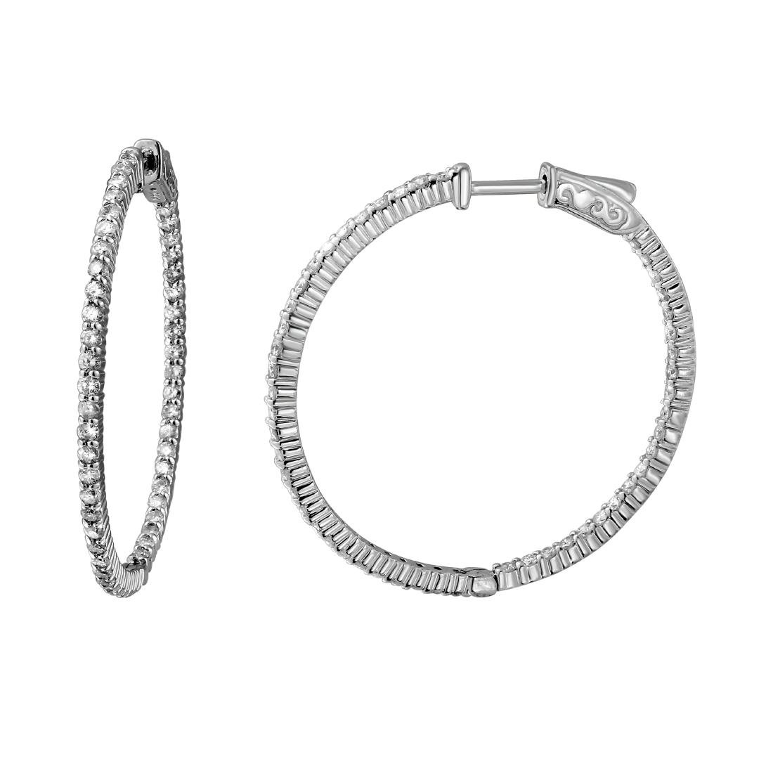 2.07 CTW Diamond Hoop Earring 14K White Gold -