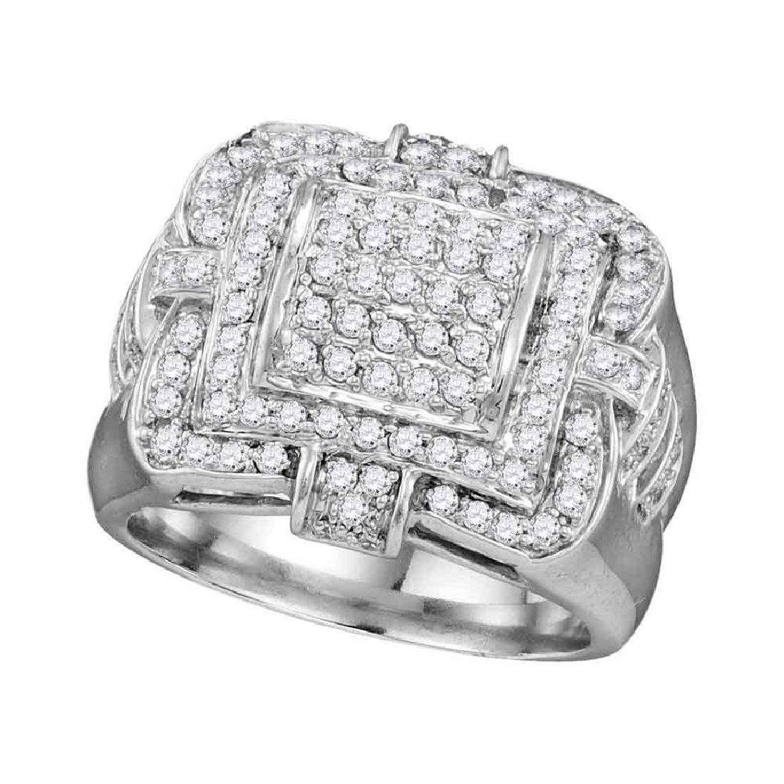 1 CTW Mens Diamond Layered Square Cluster Ring 10KT