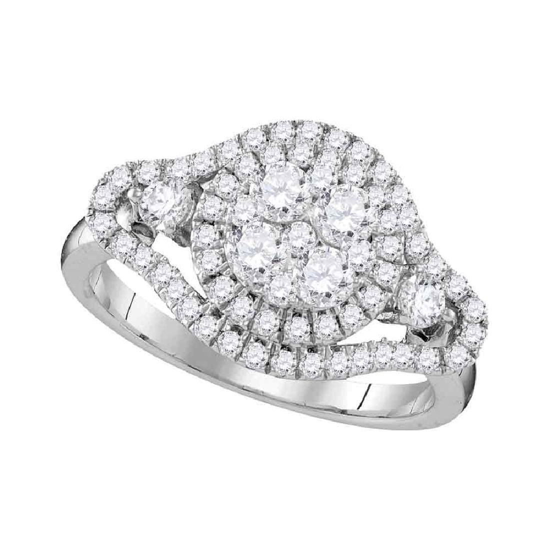 1.19 CTW Diamond Cluster Halo Bridal Engagement Ring