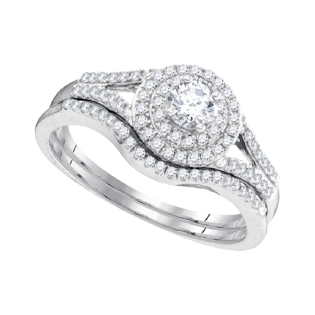 0.50 CTW Diamond Halo Bridal Wedding Engagement Ring