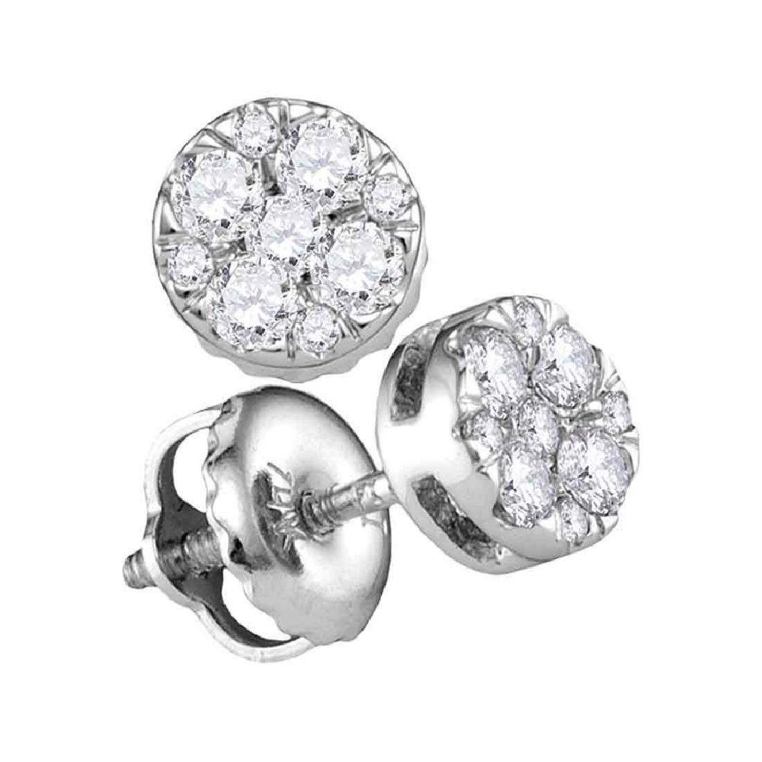 0.25 CTW Diamond Cluster Earrings 14KT White Gold -
