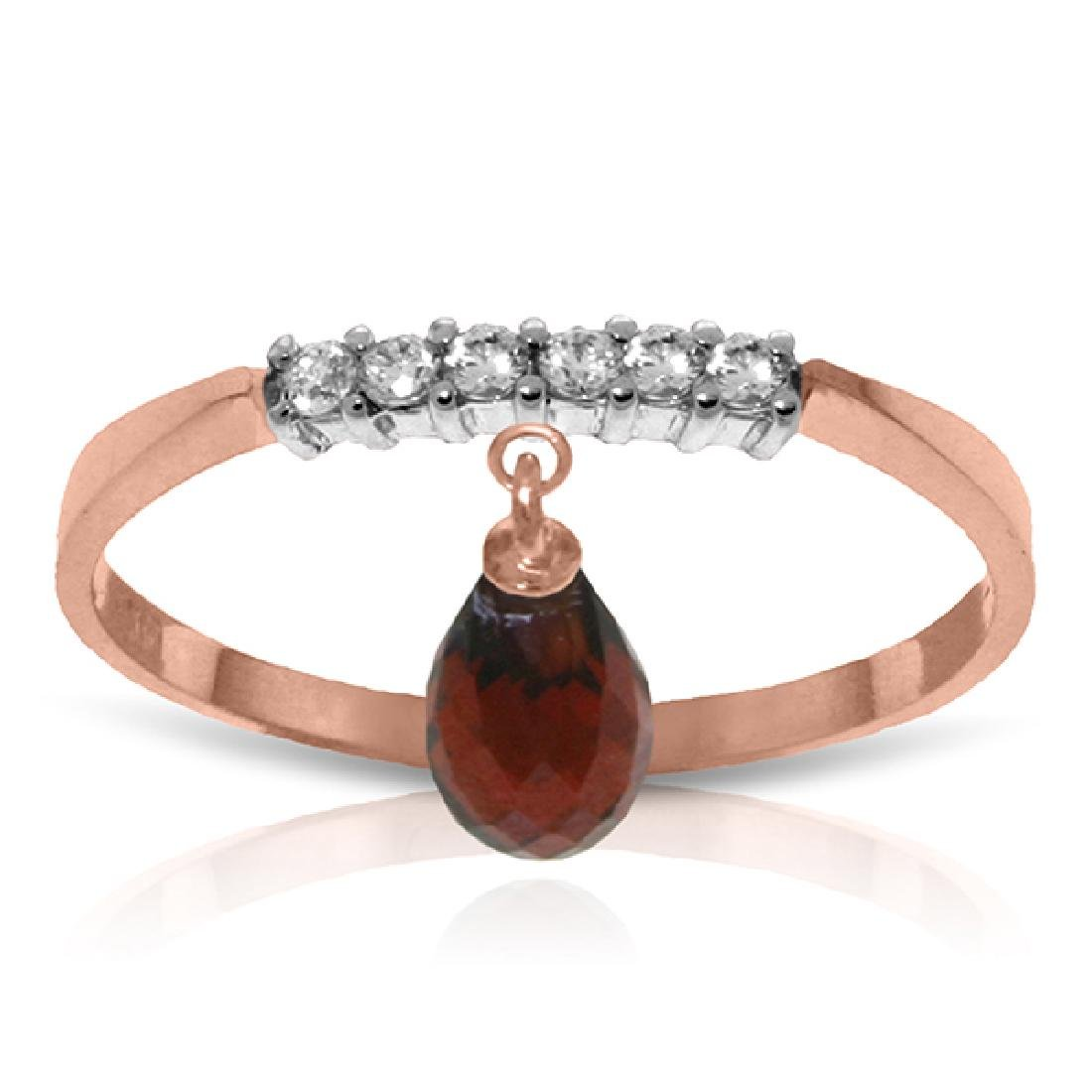 Genuine 1.45 ctw Garnet & Diamond Ring Jewelry 14KT