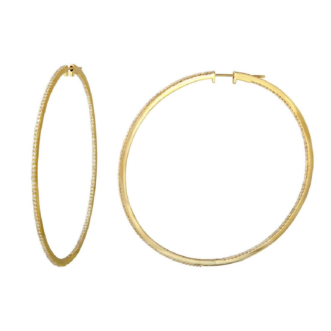 2.12 CTW Diamond Hoop Earring 14K Yellow Gold -