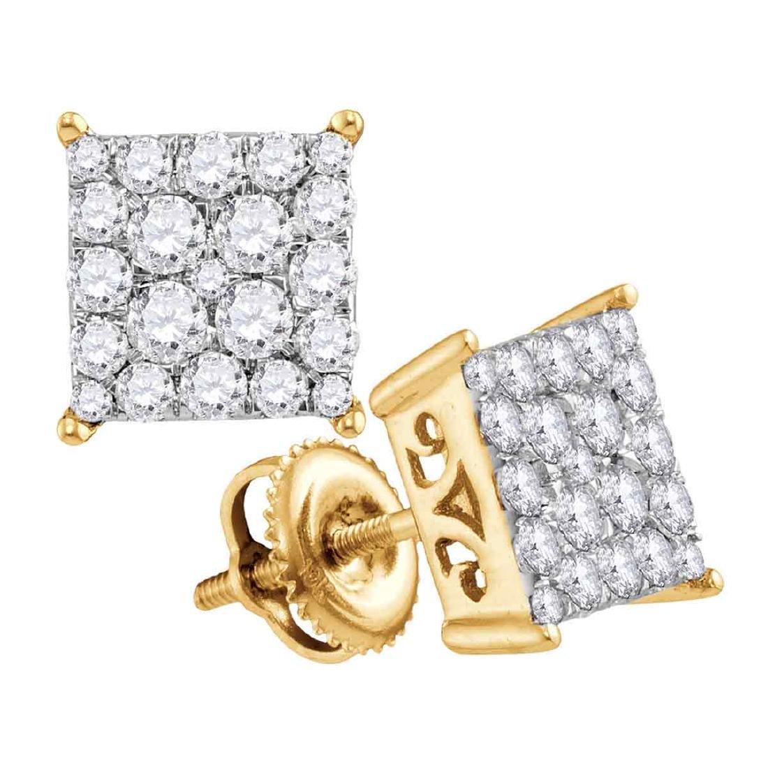 0.95 CTW Diamond Square Cluster Stud Earrings 10KT