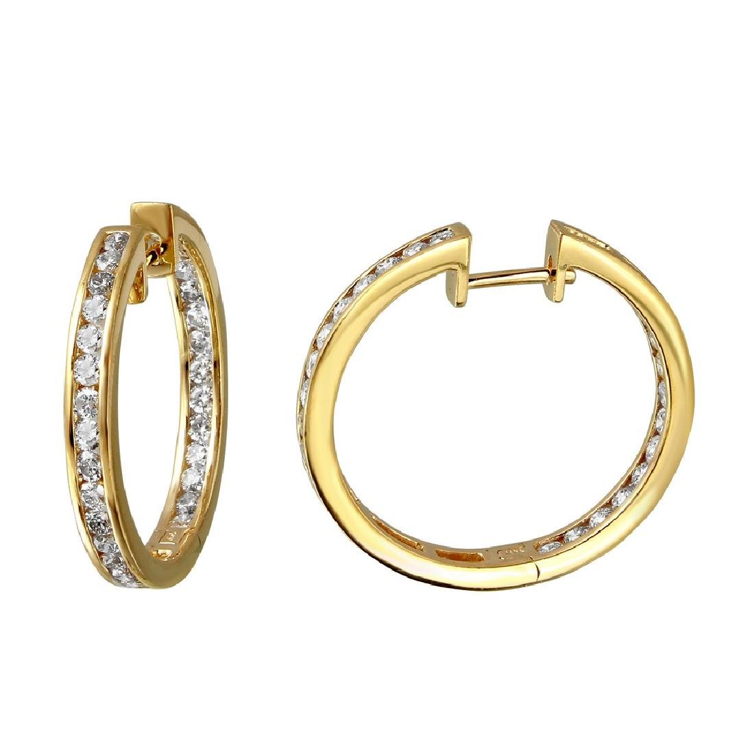 2.28 CTW Diamond Hoop Earring 14K Yellow Gold -