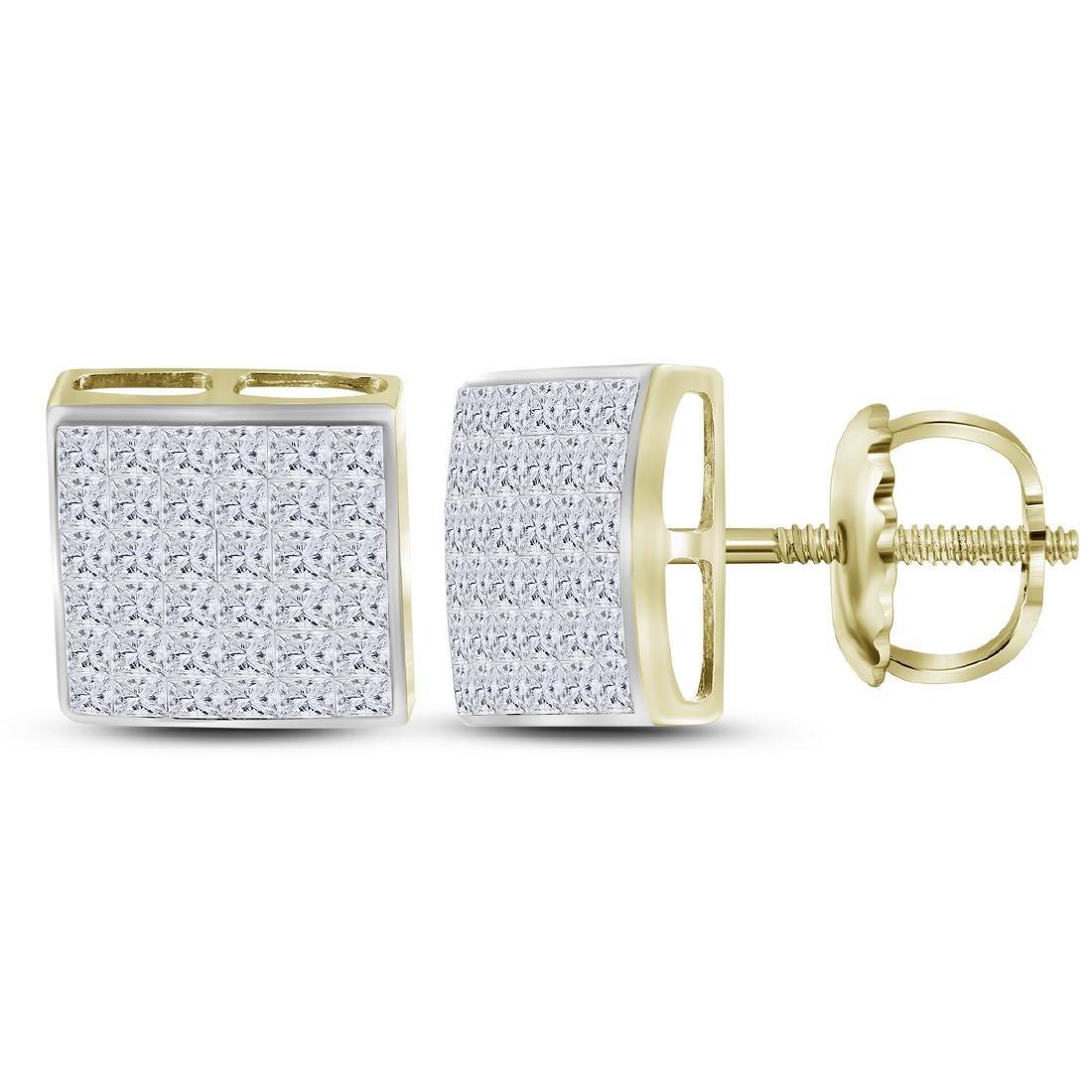 1.47 CTW Princess Diamond Square Cluster Stud Earrings