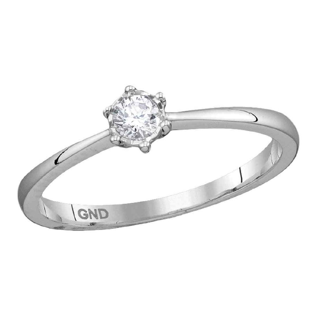0.14 CTW Diamond Solitaire Bridal Engagement Ring 10KT
