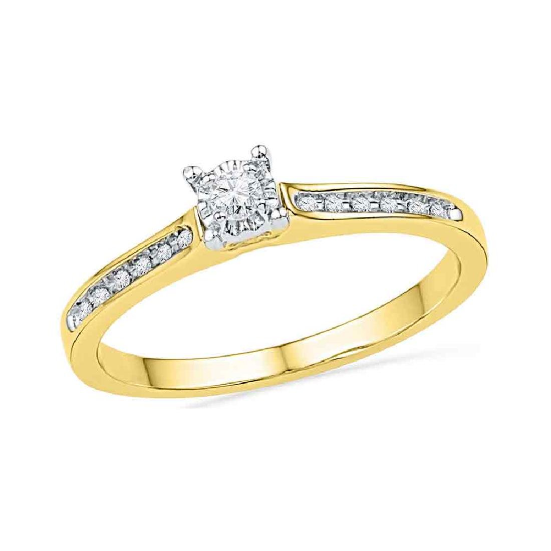 0.10 CTW Diamond Solitaire Bridal Engagement Ring 10KT