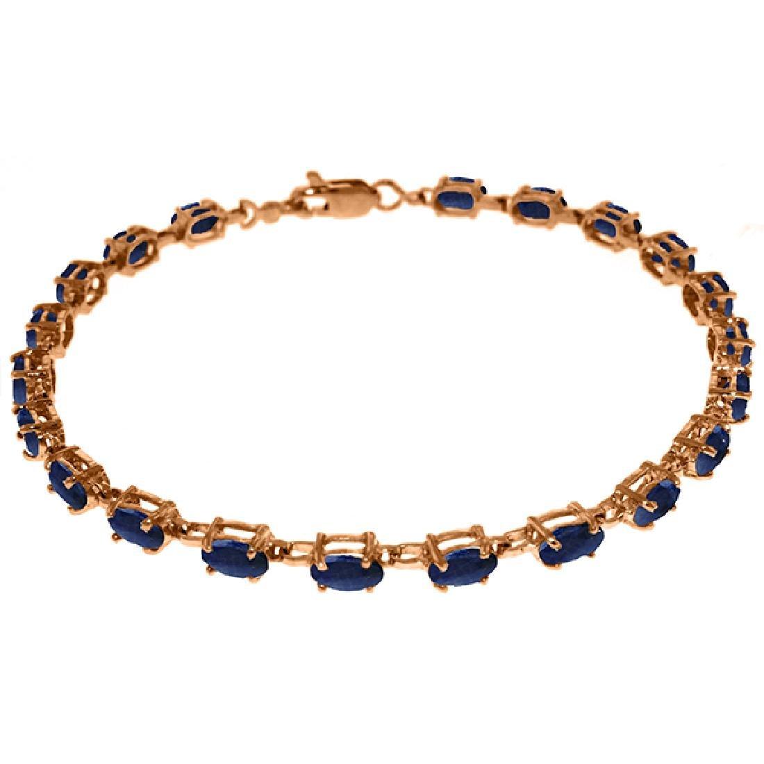 Genuine 8 ctw Sapphire Bracelet Jewelry 14KT Rose Gold