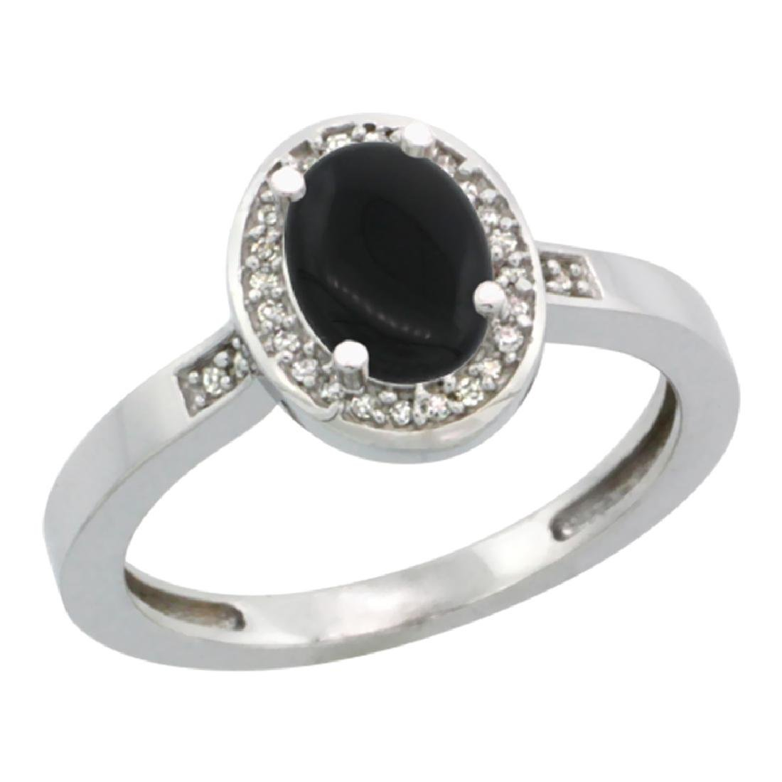 Natural 0.83 ctw Onyx & Diamond Engagement Ring 10K