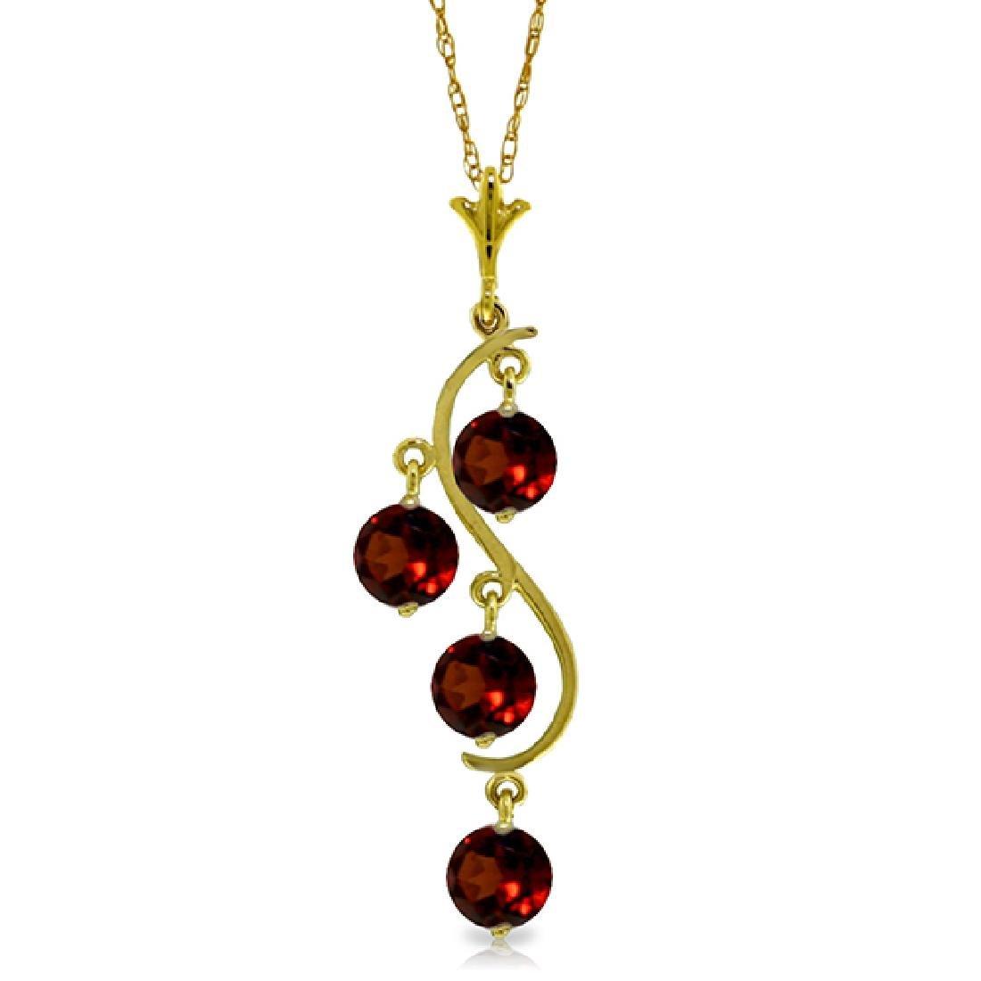 Genuine 2.25 ctw Garnet Necklace Jewelry 14KT Yellow