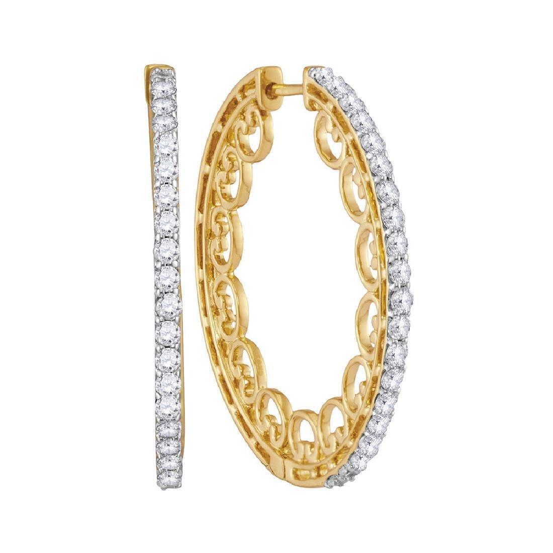 1 CTW Diamond Single Row Luxury Hoop Earrings 10KT