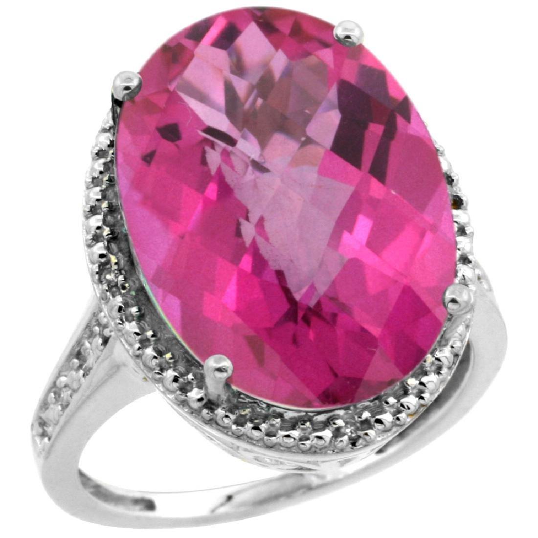 Natural 13.6 ctw Pink-topaz & Diamond Engagement Ring