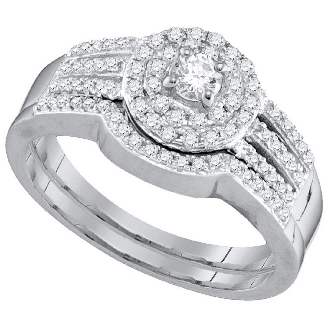 0.48 CTW Diamond Strand Halo Bridal Wedding Engagement
